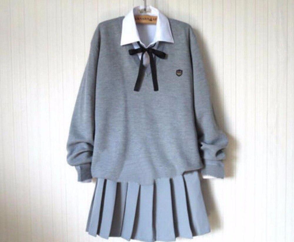 Japonais Anime Kawaii étudiant école marin uniforme tricot pull ensemble mignon jupe Style Preppy