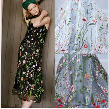 Grass Flower Tulle Embroidery Lace Fabric Floral Curtain Yard Wedding Dressing sold by the (91.5cm)*1yards/lot