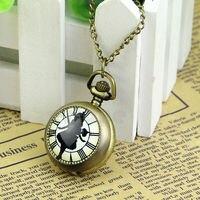 Стимпанк цепочки и ожерелья цепи кварцевые кулон бронзовый тон обувь для девочек Подарочные карманные часы Лидер продаж