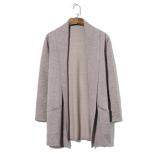 Plus Size 5XL Longo Estilo Dos Homens Camisola Cardigan 2016 Outono Inverno Cáqui Casacos De Malha Sólida Masculino Coreano Slim Fit Sweatercoat