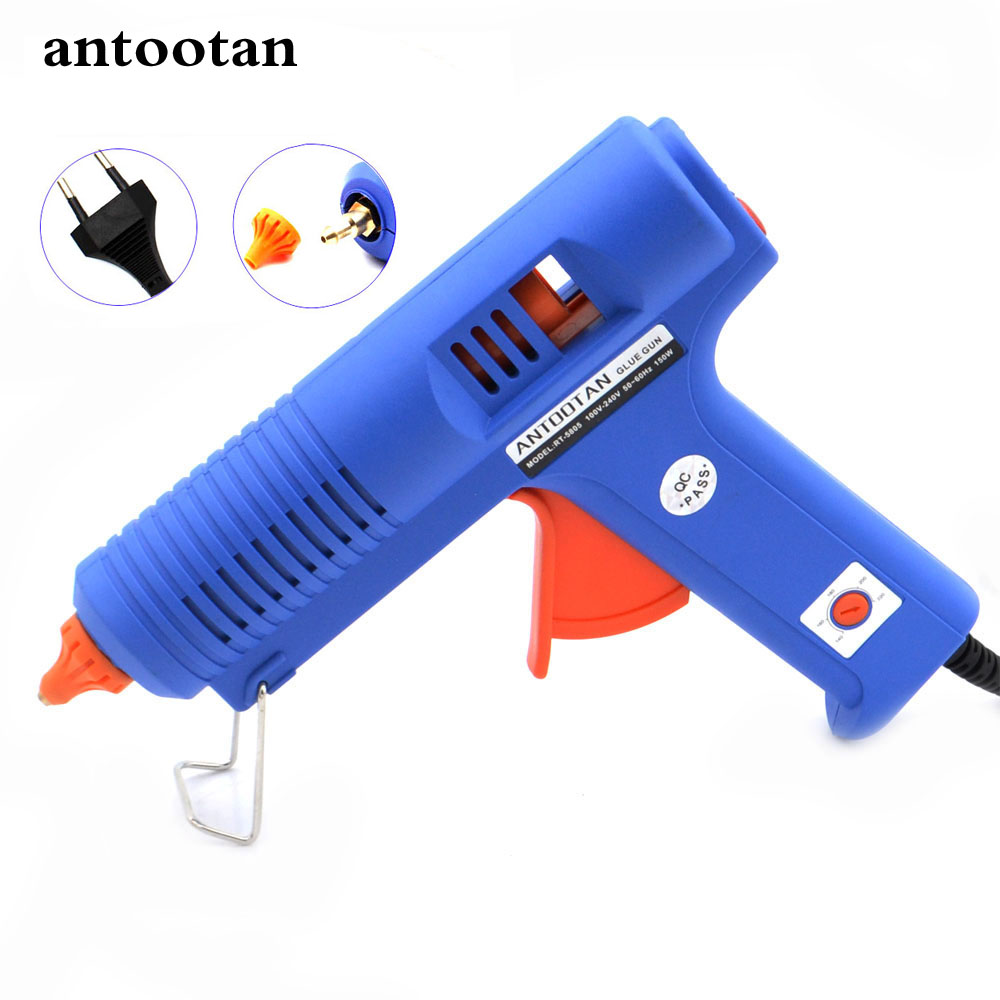 150W  EU Plug BULE Hot Melt Glue Gun with  Temperature Tool Industrial Guns Thermo Gluegun Repair Free 1pc 11mm Stick sgs 220 degree professional hot melt glue gun 60w 100w double power fit 11 mm stick temperature repair tool glue gun hm8061t