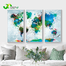3 Panel Map Vintage Watercolor World Painting Modular Wall Picture For Living Room Decoraction Art Unframed