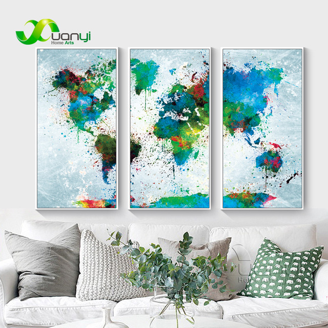 3 panel map vintage watercolor world map painting modular wall 3 panel map vintage watercolor world map painting modular wall picture for living room wall decoraction gumiabroncs Gallery