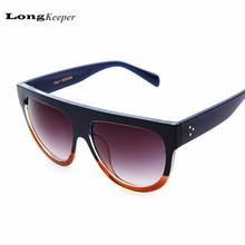 New Retro Sunglasses Women Flat Top Style Brand