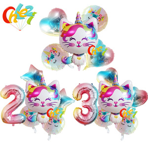 6pcs Rainbow Unicorn Cat Foil balloon 32inch Gradient color Number ballon Birthday Wedding Party Decoration supplies Baby Shower(China)