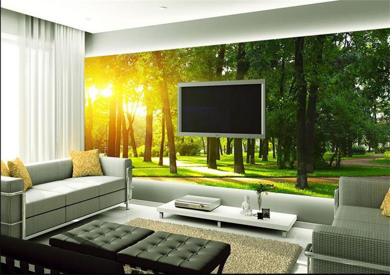 3d room wallpaper custom mural non-woven wall sticker Sun pictures green forest trees photo wallpaper TV sofa Bedroom livingroom custom 3d room mural wallpaper non woven wallpaper senery red maple forest photo living room tv backdrop bedroom photo wallpaper