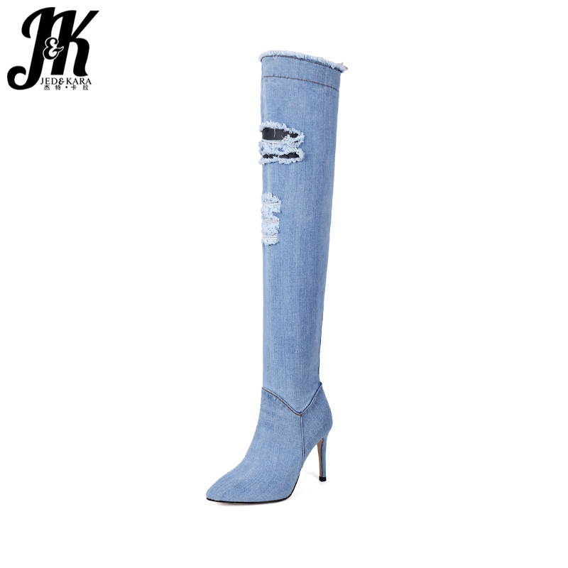 JK High Heels Denim Women Boots Over The Knee Zipper Pointed Toe Thin Heels Footwear 2018 New Holed Sexy Fashion  Ladies Shoes sexy women denim thigh high peep toe boots thin high heels zipper ladies over the knee long cowboy botas