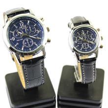 LinTimes 2 предмета пара наручные часы Водонепроницаемый Круглый циферблат Кварцевые часы с PU ремешок для Для мужчин и Для женщин