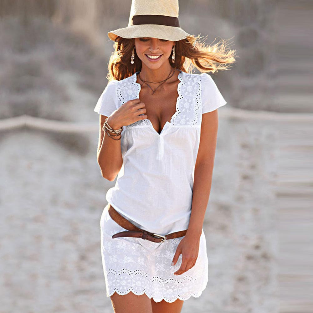 2019 Summer Dresses Women Casual Sexy Party elegant dress V-Neck Short Sleeve Lace Trim  Mini white dress vestido