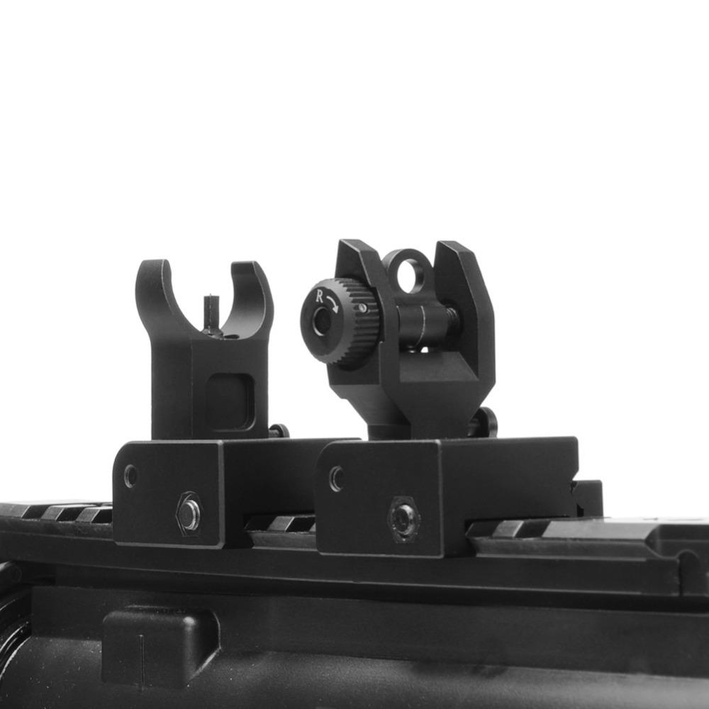 Prix pour Flip up Avant Arrière Iron Sight Set Double Demi-Lune Forme BUIS Sites pour 20mm Montage de Chasse Gun Fusil Airsoft Accessoires