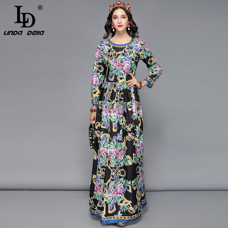 LD LINDA DELLA Spring Runway Designer Maxi Dresses Women s Long Sleeve Flower Print Elegant Party