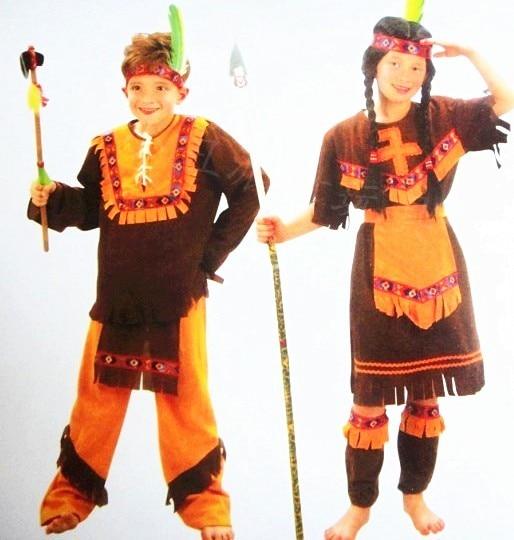 Kids Native Indian Warrior Costume Boys Children/'s Western Fancy Dress