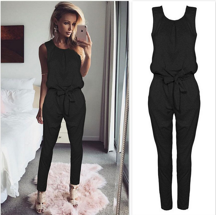 Sexy Sleeveless jumpsuit women long romper 2019 New summer women lady Fashion jumpsuit coveralls sexy female Black Bow jumpsuits(China)
