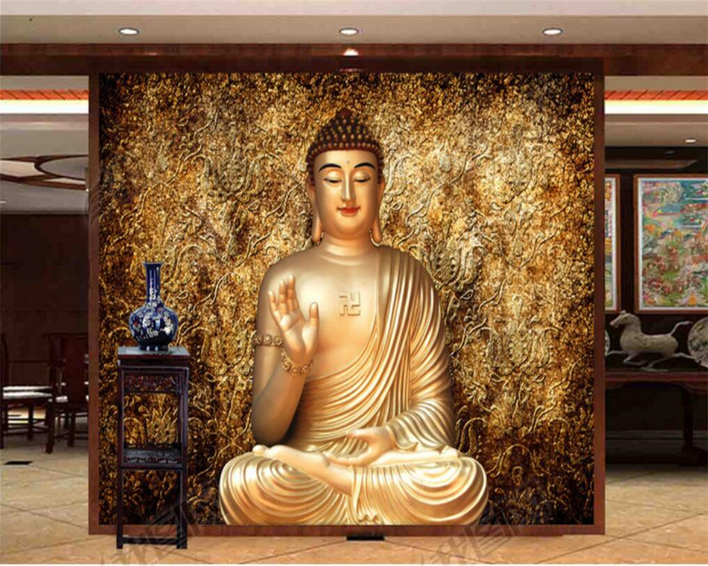 Beibehang Custom Wallpaper Three-dimensional Relief Buddha Statues Background Murals Living Room Bedroom Decor 3d Wallpaper