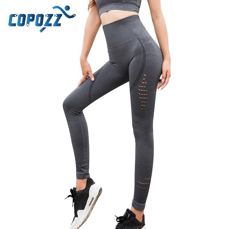 COPOZZ Frauen Yoga Hosen Hohe Taille Elastische Fitness Sport Leggings Strumpfhosen Schlanke Laufhose Energie Nahtlose Hosen Trainings Hosen