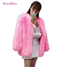 Новинка, SexeMara, модное, стильное, уличное, плотное, большое, мешковатое, розовое пальто с искусственным мехом, верхняя одежда, куртка, лучшее качество
