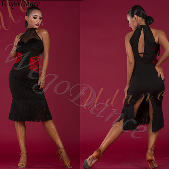 New latin tassel Dance Dress Practice Embroidery Open Back Tassel Dresses woman freeshipping