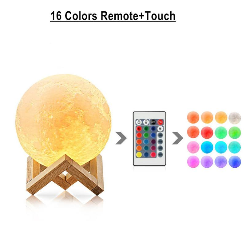 Remote Control 16 Colors Touch Moon Lamp 3D