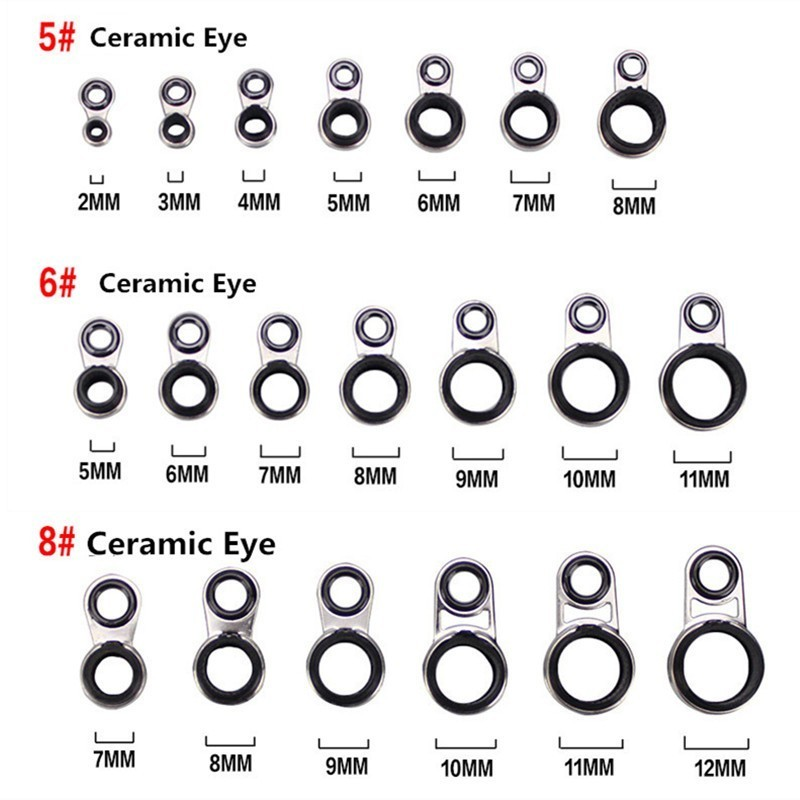 Mix 14Pcs Angelrute Pole Guides Tipps Top Eye Ringe Reparatur Kit DIY