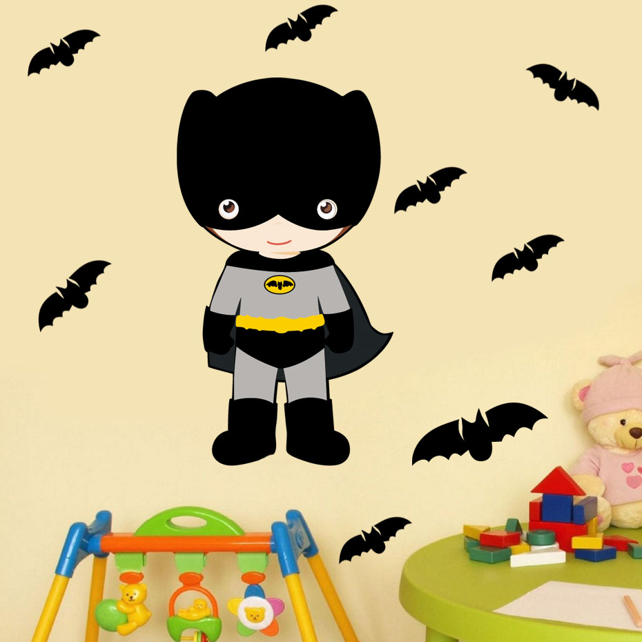 8 pcs Bat And Superhero Colorful Wall Stickers For Kids Rooms ...