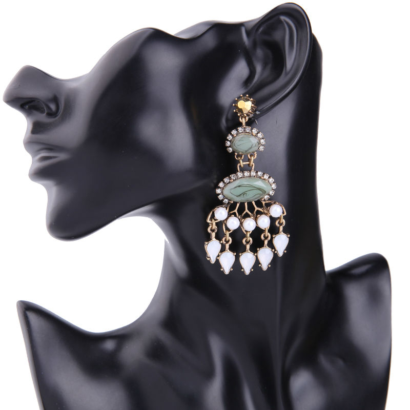 Statement Jewelry for Women Patterned Green Chandelier Earrings ...