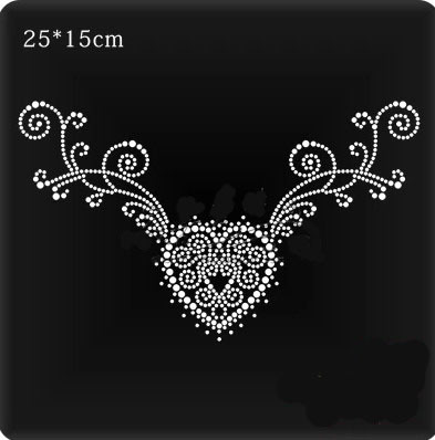 5bc95fba2b US $5.4 10% OFF|2pc/lot Neckline heart patches hot fix rhinestone transfer  motifs iron on crystal transfers design applique patches-in Rhinestones ...