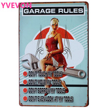 GARAGE RULES Tin Sign HDLJ2-B Lady and Car Tools Retro Decor Plague Boards for shop bar pub wall art  20x30cm