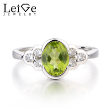 Leige Jewelry Natural Green Peridot Ring Anniversary Ring August Birthstone Oval Cut Gemstone 925 Sterling Silver Gifts for Her
