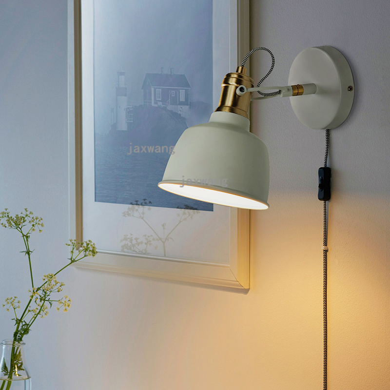 Modern Simple Led Wall Lamp Nordic Bedroom Reading Wall Lighs For Home Deco Art Luxury With Plug Switch Background Wall Sconces