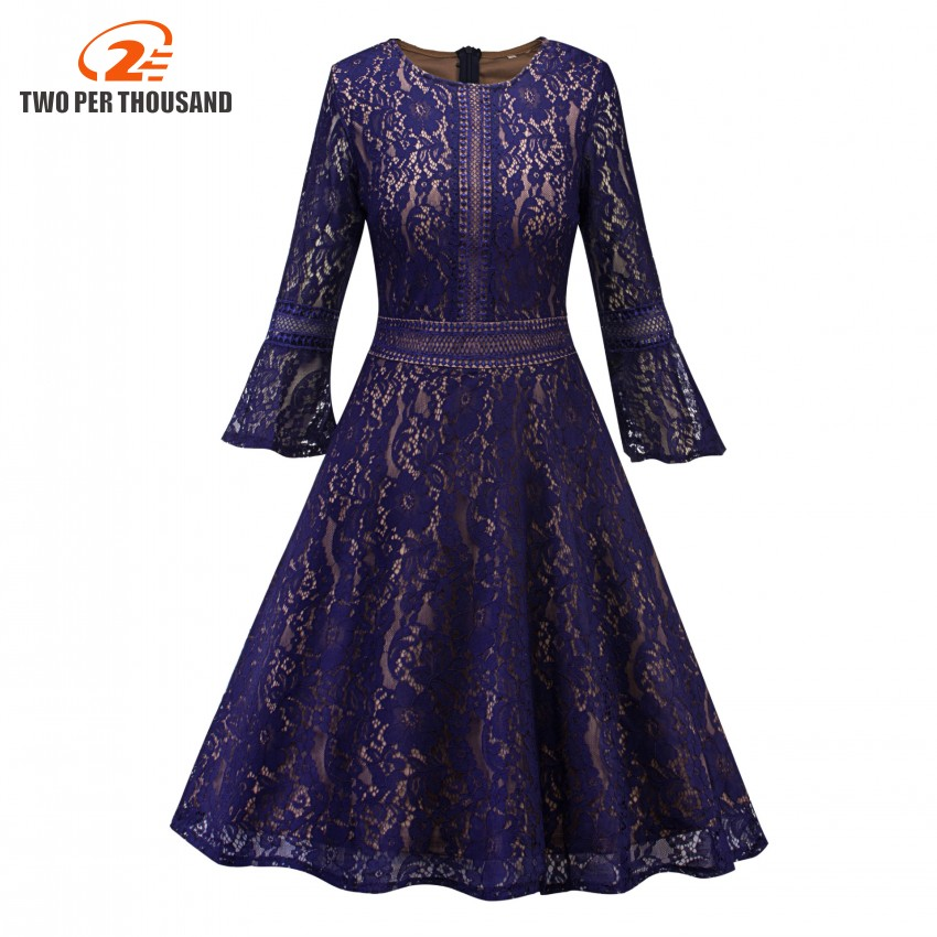 Vintage Floral Lace Pleated Dress Women Flare Sleeve O-Neck Elegant Party Sexy Dresses Retro 50s Summer Robe Big Swing Dress