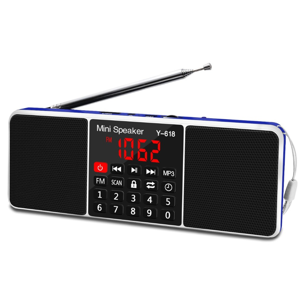 Lefon Portable Mini FM Radio Receiver Speaker MP3 Player Support TF Card USB Drive LED Screen Display Time Shutdown Dab Radios