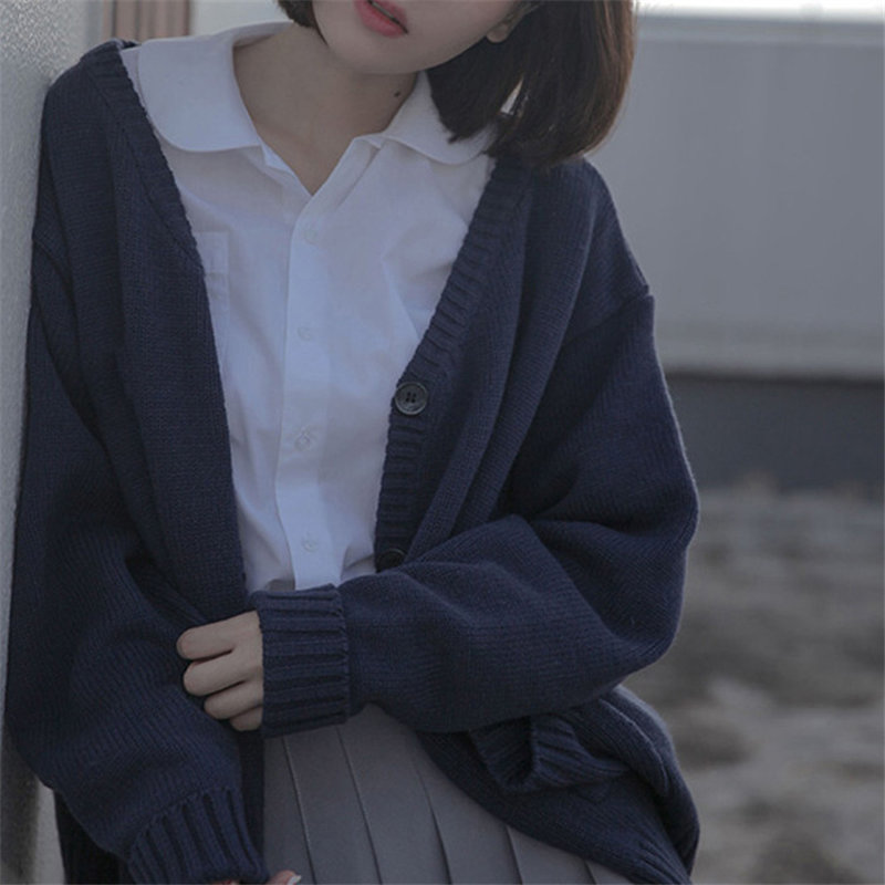 Spring Sweater Coat Open Stitch Knitted Jacket Solid Color Cardigan For Women Casual Sweaters Top Jackets Japanese Cardigan Q532