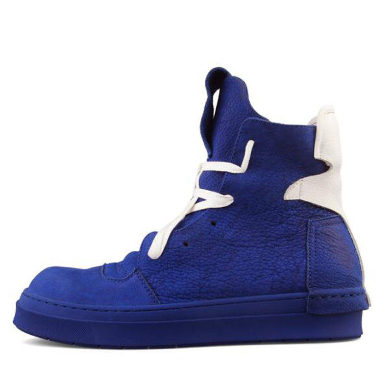 Hombres Blanco Negro Zapatillas Genuino Botas Zapatos Botines Cordones De Plana Casuales Alta Lujo Seak azul blanco Owen Con Cuero Superior Negro TnqU8w58v