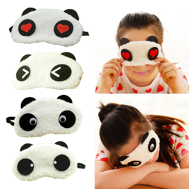 Hot Comfortable Korean Style Soft lovely Cartoon Pure Cotton sleep Eye Shade Cute Animal shading Ice Portable Hot Panda Eye Mask
