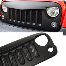 1 set Lantsun FJ034-2 Black Front Grill Angry Bird (With Mesh) Shell Replacement fits 2007-2017 Jeep Wrangler JK