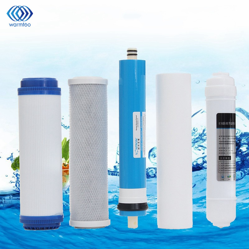 Portable 5Pcs 5 Stage RO Reverse Osmosis Filter Water Purifier Equipment Replacement Parts PP Particles Carbon RO Film Rear T33 2 pcs water filter parts 1 4 tank ball valve for tube quick connect switch water purifier ro reverse osmosis system
