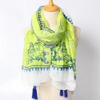 แห่งชาติสไตล์สีฟ้าและสีเขียวผ้าคลุมไหล่ฝอยผ้าพันคอฤดูใบไม้ผลิผ้าไหมผ้าพันคอผ้าฝ้ายผ้า...