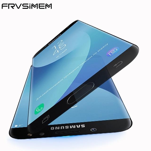 Frvsimem Полный закаленное Стекло для Samsung Galaxy J3 J5 J7 2017 J330 J530 J730 Duos полный охват тела Экран протектор плёнки случае