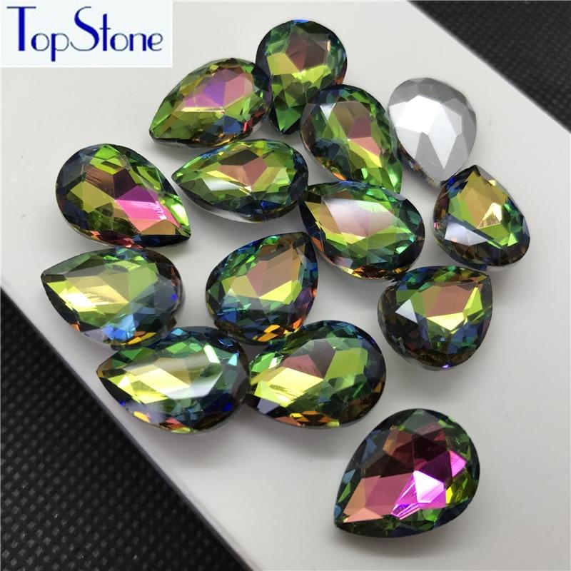 Rainbow Color TEARDROP Glass Crystal POINTED BACK Rhinestones 5x8  1aca64c9221d