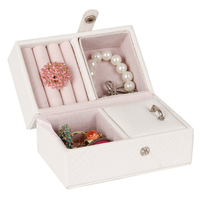 White Large Jewelry Storage Boxes For Girls Rings Organizer Travel Case Bracelets Watch Earring Display PU