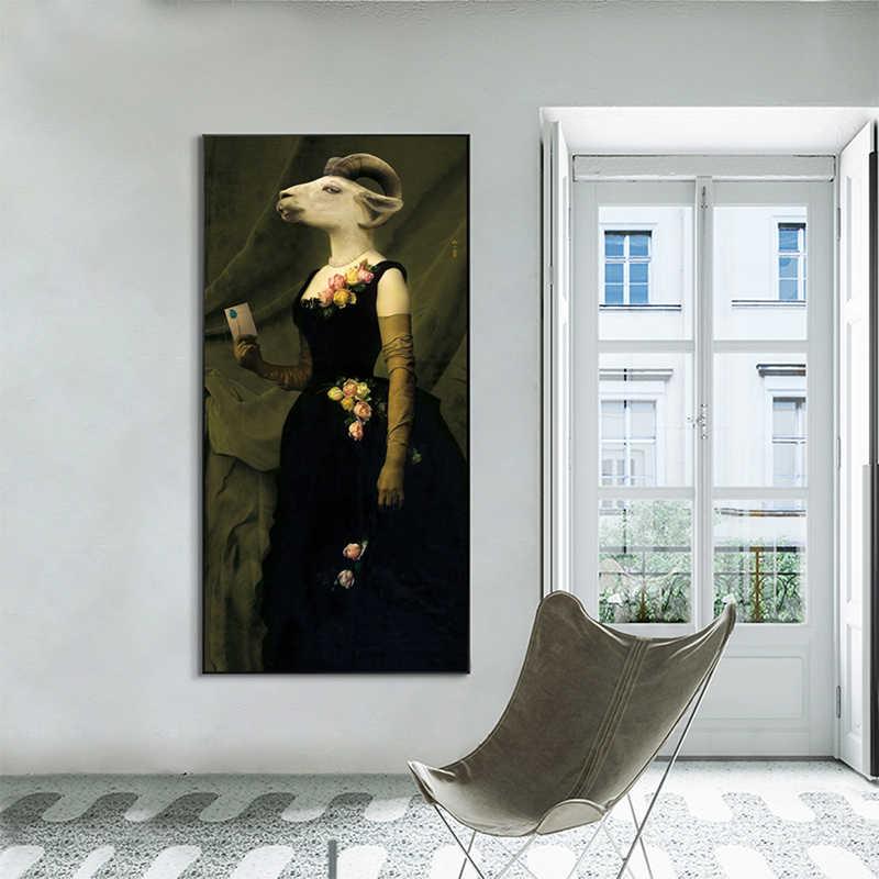 Wangart nostalgia retro cavalheiro senhora pinturas a óleo arte da parede animais posters impressão da lona para sala de estar decoração casa