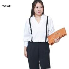 TUHAO 2018 Autumn Plus Size 4XL 3XL Women's Chiffon Blouses Shirts Strap Blouses Lantern Sleeve Shirt Office Lady Tops LM73