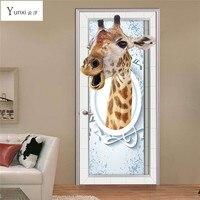 YunXi 2017 Nieuwe 3D Deur Stickers Grappige Giraffe Stickers Woonkamer Slaapkamer Achtergrond Decoratie Pvc Waterdicht Muurstickers