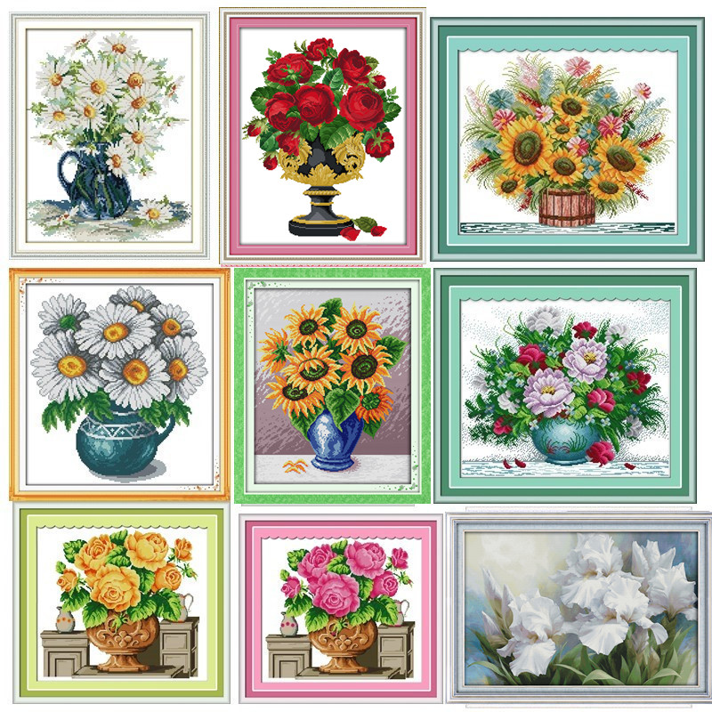 Daisy Vase Flori Chinses Broderie Cross Stitch Kituri Pattern Home Decor Imprimat Numarat pe panza DIY Pictura DMC Set 11CT 14CT