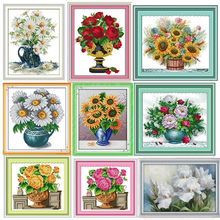 Daisy Vase Flower Chinses Embroidery Cross Stitch Kits Pattern Home Decor Counted Print On Canvas DIY Painting DMC Set 11CT 14CT(China)