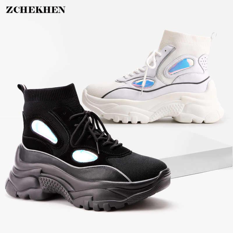 Neue High Top Sneakers Plattform hip hop Frauen Glitter Ankle Stiefel Socke Schuhe Frau Unisex Dad Chunky Turnschuhe Zapatos De muJjer