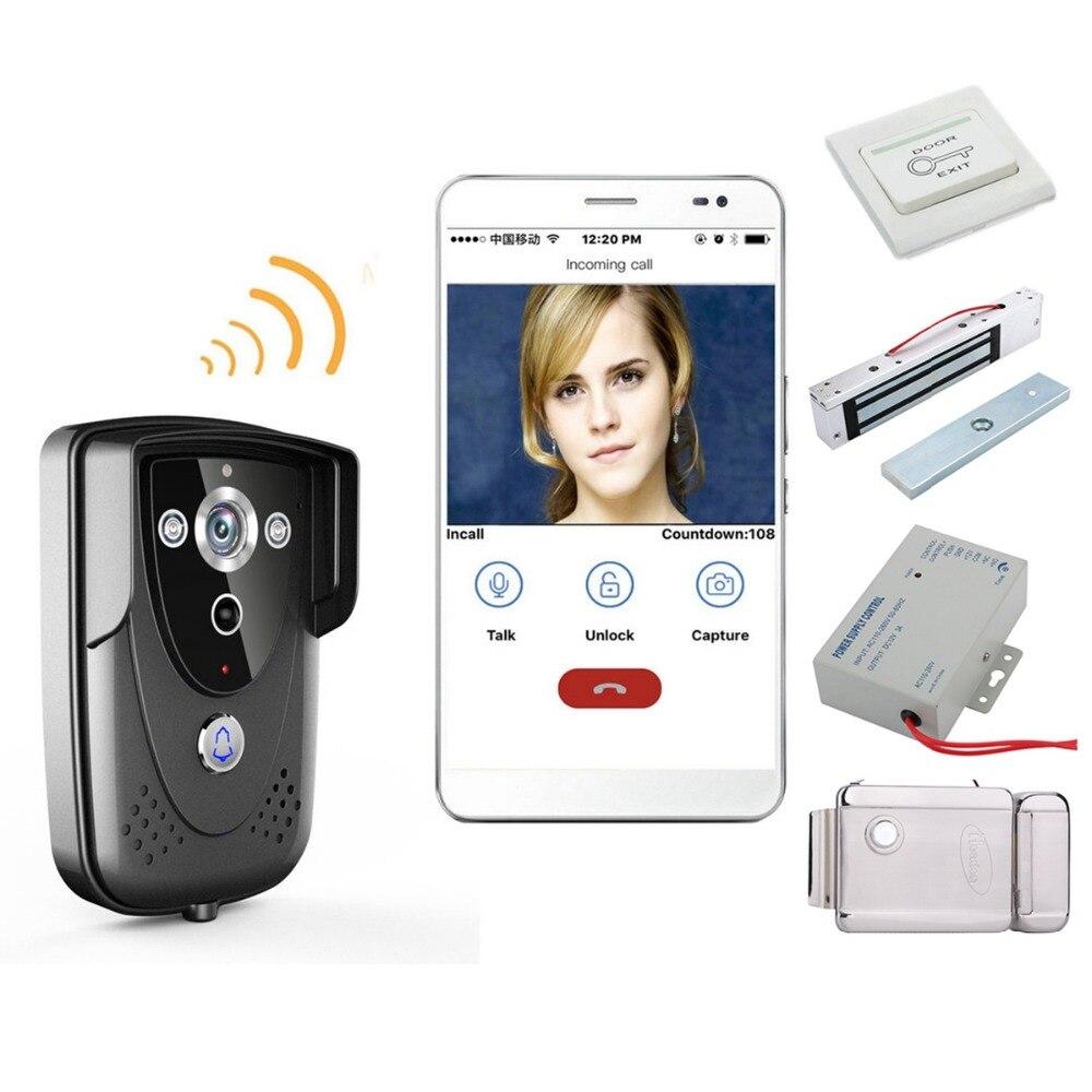 Home Set WI-FI Wireless Video Door Phone Doorbell Intercom With Night Vision Waterproof IP55 Free Shipping Wifi Doorbell+Locks