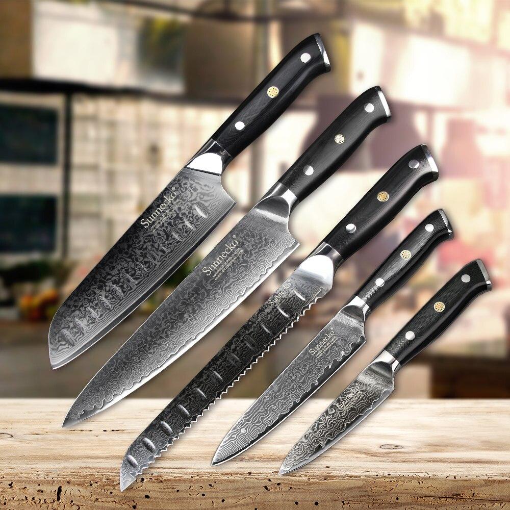 SUNNECKO 5 pcs Cuisine Couteau Ensemble Chef Pain À Éplucher Santoku Couteaux 73-Couches Damas VG10 Outils de Cuisson En Acier g10 Poignée