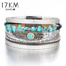 1ff885cf4228 17 km Vintage ancho hoja piedra encantos pulseras brazaletes para las  Mujeres Hombres Nuevos DIY múltiples capas pulsera de moda.