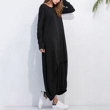 2018 Women Dress Mixi Dresses Plus Size Vestido Long Dresses Casual Party  Loose Solid Long Sleeve 6df4e56fc3ff